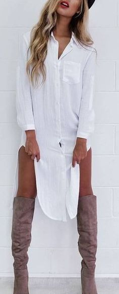 White Shirt Dress                                                                             Source