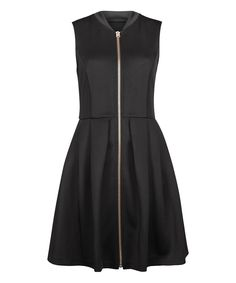 5836005a0ad55d Black Zipper Fit   Flare Dress