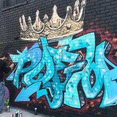 Graffiti artist POEM (@poemoneart) working with @bert_end2end at @thebushwickcollective Block Party on Saturday in Brooklyn.  #poemonart #thebushwickcollective #bushwickstreetart #bert