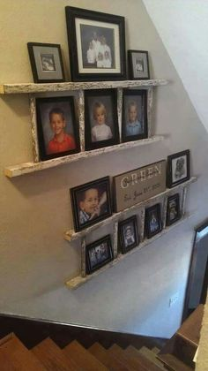 Using ladders for hanging photos on walls