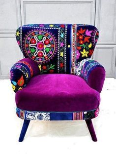 Retro shape chair , with patchwork and crewel work on upholstery. Beautiful