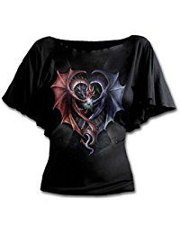 Womens - DRAGON HEART - Boat Neck Bat Sleeve Top Black -- Learn more by visiting the image link.