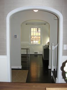Custom arched opening with elliptical arch keystone for Decorative archway mouldings