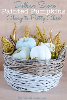 Create this budget friendly fall DIY using $1 fake pumpkins and chalk paint. These  pretty pumpkins are perfect for adding chic neutral fall decor to your home…