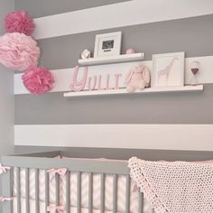 Baby room décor - love pink and gray for a girl