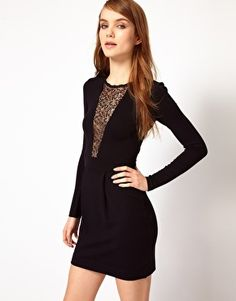 38f2b284fef French Connection Lace Slash Front Bodycon Dress French Connection