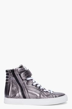Silver High-Top Sneakers by ssense