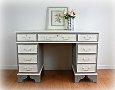 Vintage desk painted in French Linen and Old White (Annie Sloan Chalk Paint).