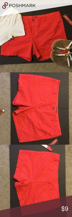 Merona Red Lace Shorts NWT These red shorts by Merona have a lace overlay. This brand is found in Target! Perfect with a Tee and sandals for a casual look! NWT Merona Shorts