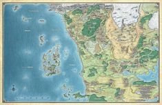 Map of the Sword Coast in Faerun in the Forgotten Realms D&D setting Dungeons And Dragons, Dnd Dragons, Forgotten Realms, Fantasy Map, Fantasy World, Fantasy Artwork, Storm Kings Thunder, Rpg Map, Dnd 5e Homebrew