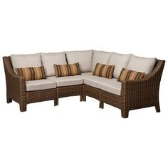Target : Honeylane Wicker Patio Sectional Sofa Furniture Collection : Image Zoom