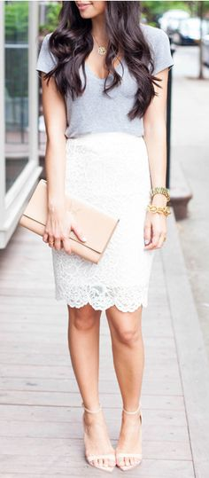 Love the lace pencil skirt with the scallop cut on the bottom.