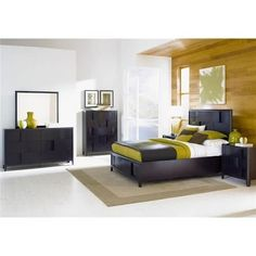 Looking for a cozy bedroom with a modern twist? Check out this Magnussen Home Nova Queen 4-piece bedroom set!