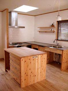 Japanese Kitchen, Japanese House, Open Kitchen Cabinets, Single Apartment, Kitchen Design, Kitchen Decor, Diy Kitchen Storage, Modern Chandelier, Home Kitchens