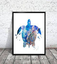 Sea turtle 4 Watercolor Print, turtle art, watercolor painting, Illustration, home decor, animal art, watercolor animal, print art  Buy two Get