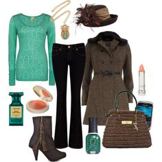 Spring transition outfit.  Teal and brown.