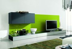 Step One soggiorno contenitori verde lucido 5 big 20 Ideas on How to Integrate a TV in the Living Room
