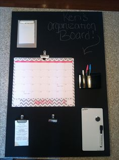 College organization board I made myself using a black canvas as a chalk board.