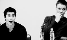 Dylan O'Brien and Will Poulter at WonderCon via tumblr alphatwolf - The Maze Runner panel