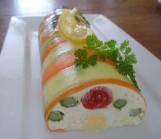 bonjour les momozamies!le concours du site espace-recettes me plait bien!alors après la terrine sucrée,la terrine salée!tout en couleurs aussi,c'est l'effet soleil!!! pour 10 personnes: -2 belles carottes longues -1 beau concombre -10 oeufs de caille...