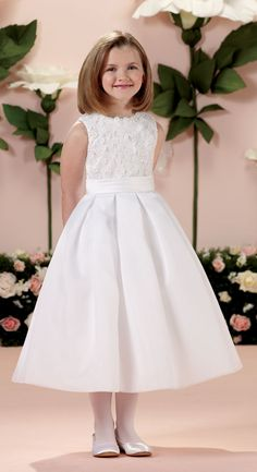 First Communion Dress with Satin and Organza Flower Accents from Catholic Faith Store (6, White)