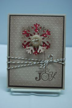 DONE! Made for Chrisrmas 2012 as a hand delivery card. Used Cherry Cobbler baker's twine, and a round 3D crystal instead of a button.