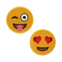 Emoji Patch - Iron On - Set of 2 Patches - Crazy Face & Heart Eyes - Smiley Face - Happy Face