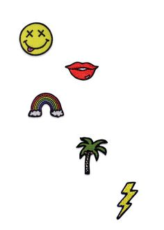 Stick it on your shoes, hat, backpack, cellphone case, skateboard, or almost anywhere else! Wear it on your denim skirt! This set includes: - Smiley Face - Lips - Rainbow - Palm Tree - Lightning Bolt