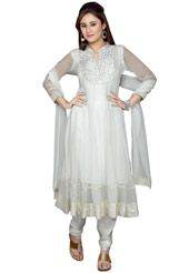 White faux georgette readymade anarkali kameez designed with resham and patch border work. Available with white satin churidar and white net dupatta. Satin fabric is used as the lining of the fabric.  (Slight variation in color and patch border work is possible.)