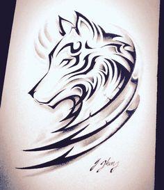Wolf tattoo design with tribal Wolf Tattoo Design, Feather Tattoo Design, Tattoo Designs, Tattoo Ideas, Wolf Design, Kunst Tattoos, Body Art Tattoos, Tribal Tattoos, Sleeve Tattoos