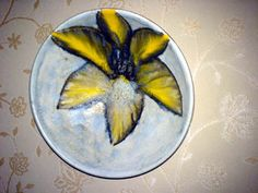 Wandteller Plate Bowl Blume Flower WGP ? 70s ? Emaillemalerei