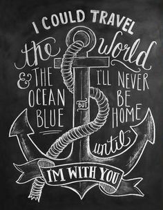 Nautical Chalkboard Art Print  We traveled the world and the ocean blue. We didn't find home until, we were anchored too
