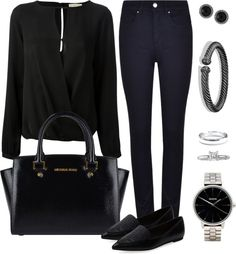 Andrea Moda y Asesoría: Blusa Negra Pantalón Azul Oscuro FW15-16 Michael Kors, Work Wear, Cool Outfits, Womens Fashion, Polyvore, How To Wear, Clothes, Dark Blue Pants, Black Blouse