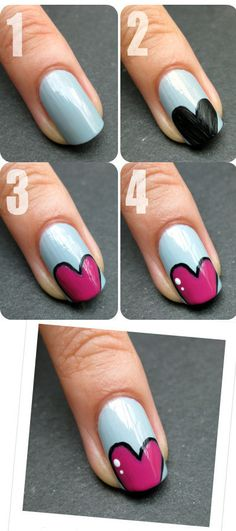 heart accent nail tutorial