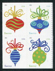 US Stamps 2011 - Contemporary Christmas Issue -The four ornaments are meant to inspire fond memories of tree ornaments from childhood.