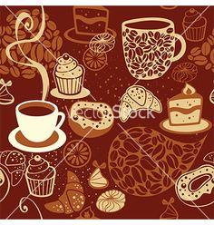 Coffee seamless pattern vector - by Zubada on VectorStock®