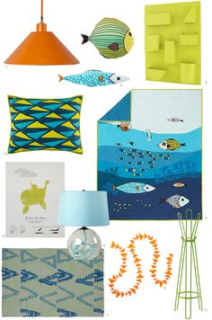 For a modern, sea-inspired bedroom, try mixing graphic abstract elements with a tropical, translucent feel.