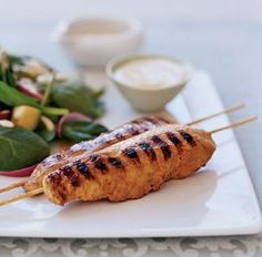 yogurt spice chicken skewers. delicious, heart healthy and low calorie