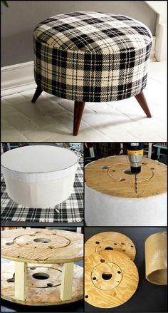 How To Build An Ottoman From Salvaged Timber Spool http://theownerbuildernetwork.co/1zsb If you can manage to get your hands on an old timber spool, this project will give you an ottoman for a fraction of the cost of a store bought one. Best of all you'll be able to tell people that you made it yourself!