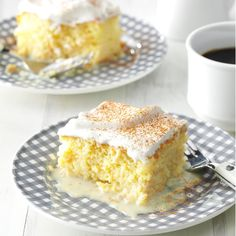 Shortcut Tres Leches Cake Recipe -My mom's favorite cake is Tres Leches, a butter cake soaked in three kinds of milk. I developed a no-fuss version that's rich and tender. 13 Desserts, Potluck Desserts, Easter Desserts, Easter Recipes, Sweet Desserts, Mexican Christmas Food, Christmas Baking, Christmas Recipes, Holiday Meals