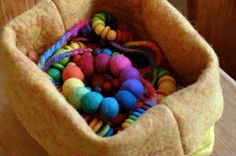 Wonderful combination - Grimm's Wooden Discs and Beads and Felt <3