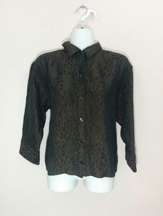 Chico's black & brown textured button down silk shirt blouse, Size 1, #2017…
