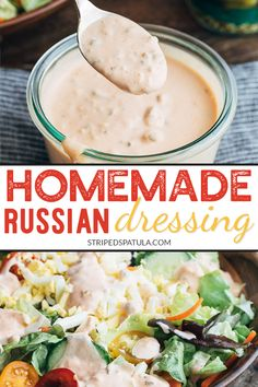 This homemade Russian dressing recipe is easy to make and tastes so much better than store-bought! Great for salads sandwiches burgers and dips. Salad Dressing Recipes, Pasta Salad Recipes, Sauce Recipes, 1000 Island Dressing Recipe, Lunch Recipes, Dinner Recipes, Cooking Recipes, Drink Recipes, Chutneys