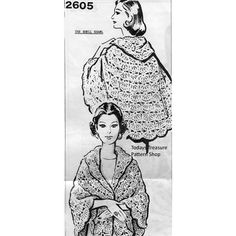 """Crocheted Stole Pattern features large shells.  The stole is extra long, 43"""" deep with top edge that folds down and forms a collar.  This is Mail Order Design 2605."""