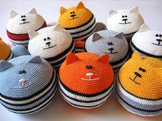 [Cats by sashakulakova]  No pattern.  Looks like a simple crochet pouf with stripes, adding cute cat face, ears.  Cute!