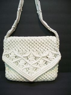 Macrame Purse Patterns Free : Vintage Heavy Macrame Bag Macrame Messenger Bag