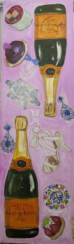veuve and heels painting by sarah ashley longshore