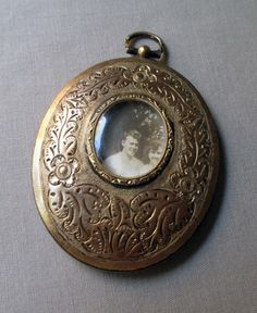 vintage antique glass locket pendant mourning by TheParisCarousel, $150.00