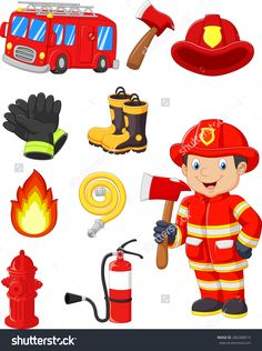 Community Helpers Preschool Discover Cartoon collection of fire equipment - Millions of Creative Stock Photos Vectors Videos and Music Files For Your Inspiration and Projects. Fireman Party, Fireman Sam, Fire Prevention Week, Community Helpers Preschool, Community Workers, Firefighter Birthday, Fire Equipment, Fire Safety, Kids Education