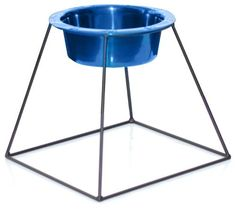 Platinum Pets Pyramid Diner Stand with 8-Cup Stainless Steel Bowl, Sapphire Blue